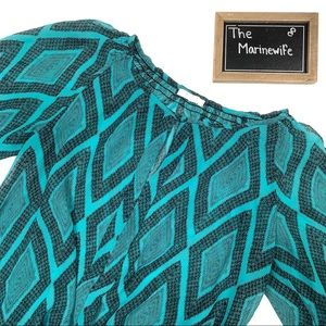 Nordstrom Pleione Teal and Black Semi Sheer Blouse